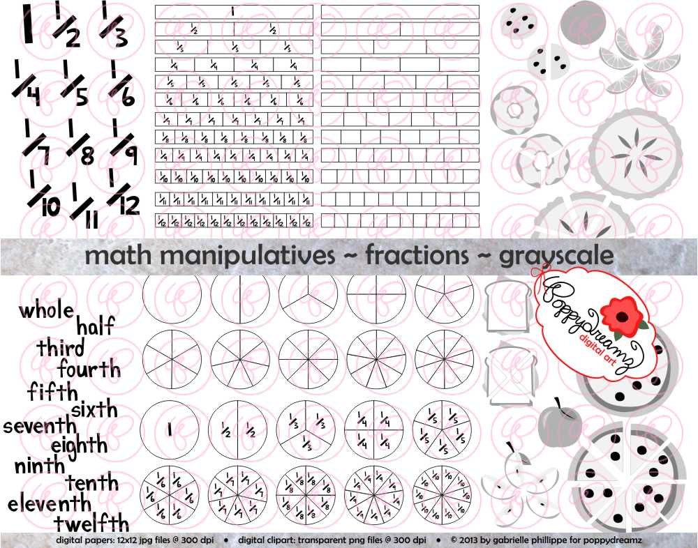 Math Manipulatives Fractions Grayscale Clipart Set By Poppydreamz