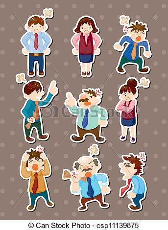 Of Angry Office Worker Stickers Csp11139875   Search Clipart