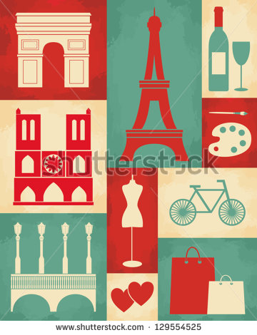 Retro Style Poster With Paris Symbols And Landmarks    Stock Vector