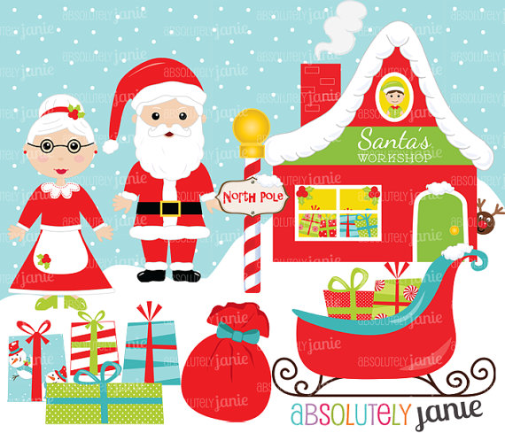 Santa S Workshop Christmas Clipart Set   North Pole   Holiday Digital