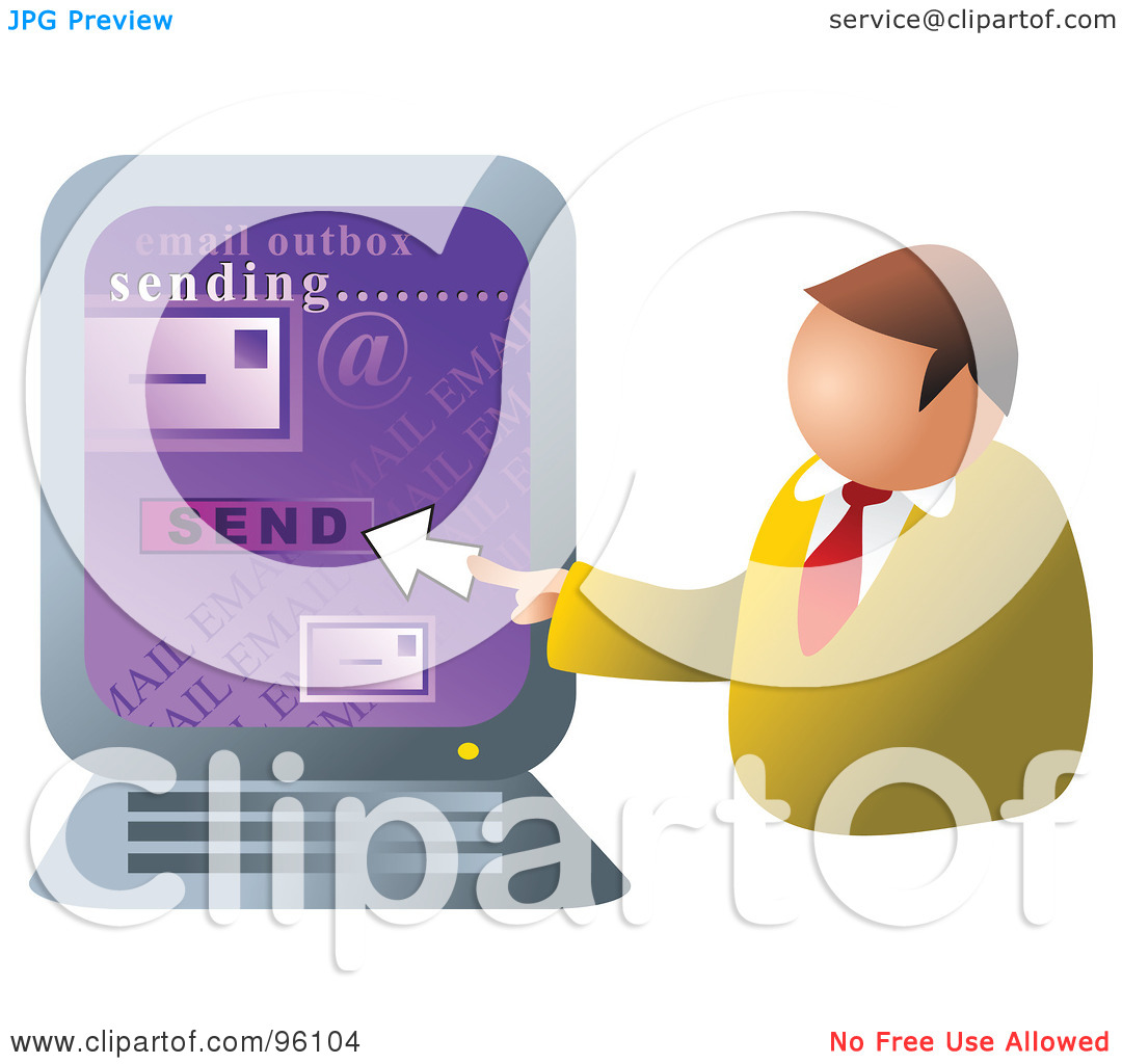 Sending Email Clipart Businessman Sending Email