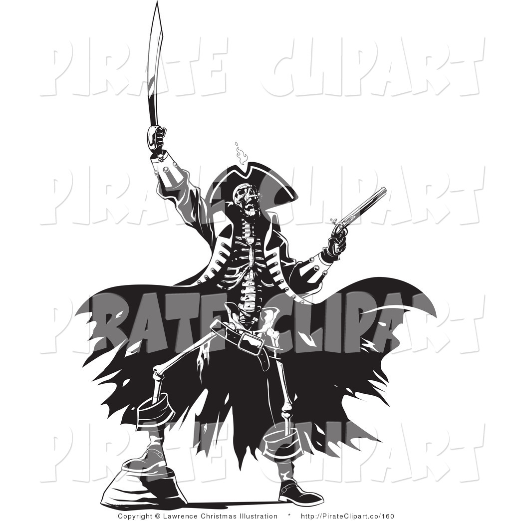 Vector Clip Art Of A Skeleton Pirate Man Raising Hell One Foot Up On
