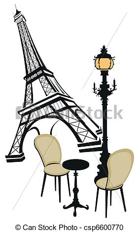 Vector Clipart Of Symbols Of Paris   Eiffel Tower Street Lights And