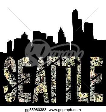 Clip Art   Seattle Grunge Text With Skyline  Stock Illustration