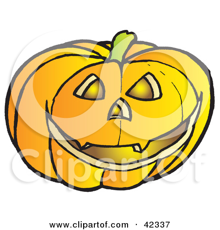 Clipart Illustration Of A Glowing Carved Halloween Pumpkin With Sharp