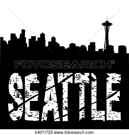 Drawing   Seattle Text With Skyline  Fotosearch   Search Clipart