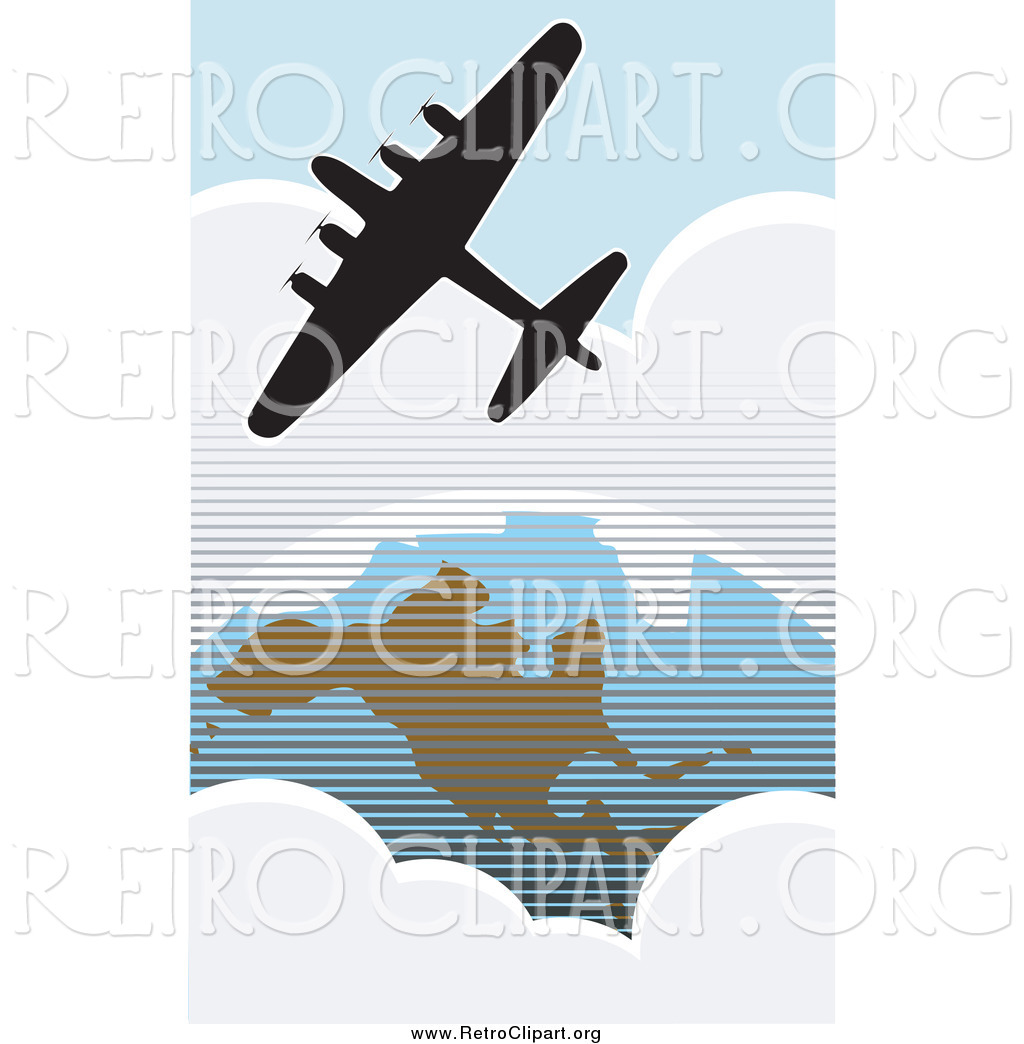 Larger Preview  Clipart Of A Silhouetted American Bomber Aircraft Over