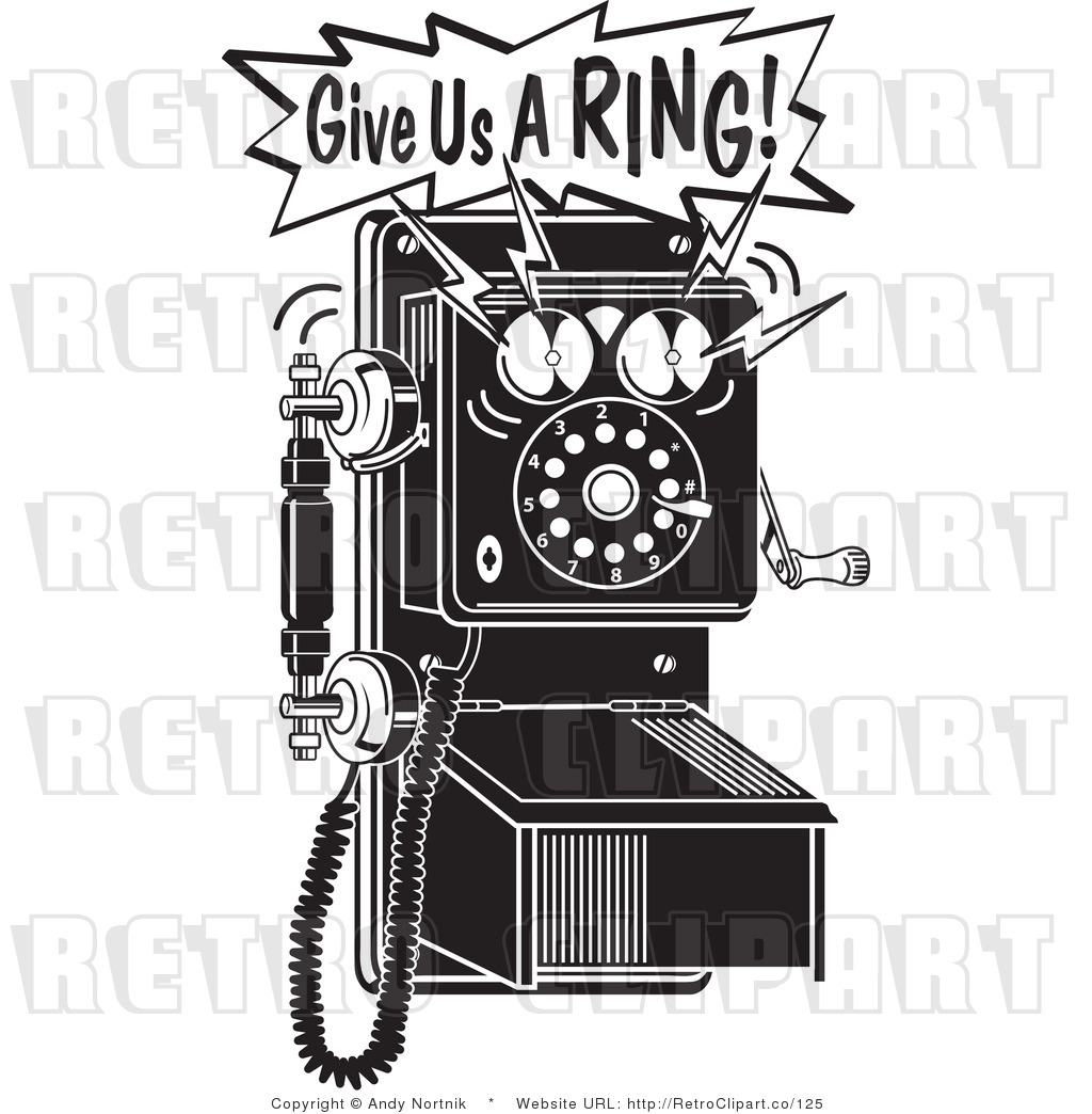 Retro Vector Clip Art Of A Give Us A Ring Telephone By Andy Nortnik