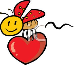 Royalty Free Clipart Image  A Lady Bug With A Smiley Face Holding A