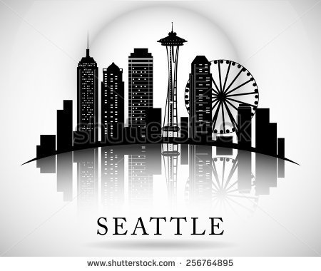 Seattle City Skyline  Vector City Silhouette   Stock Vector