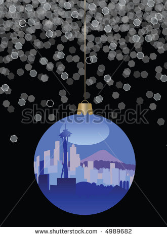 Seattle Skyline Christmas Ornament   Stock Photo