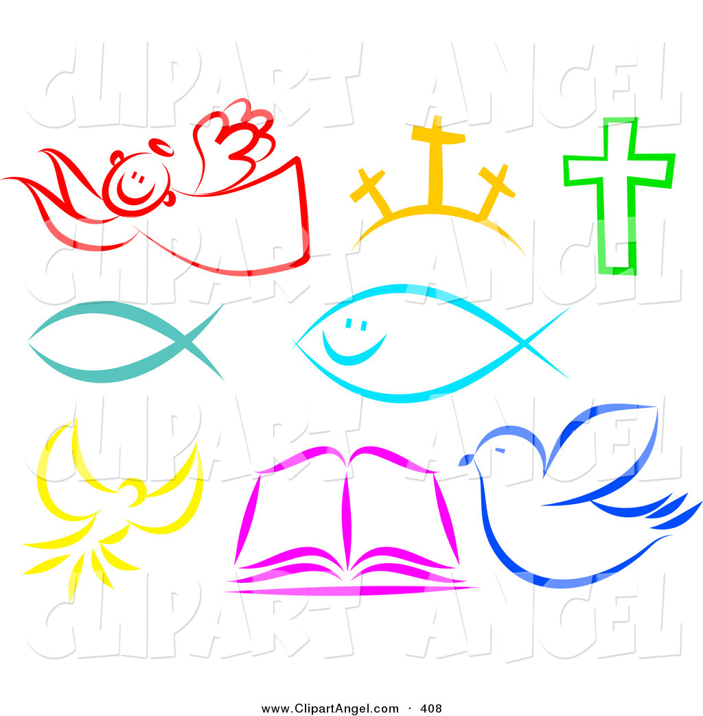 Vector Of A Digital Set Of Colorful Christian Items On White By Prawny