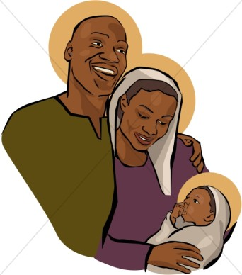 African American Holy Family Clipart