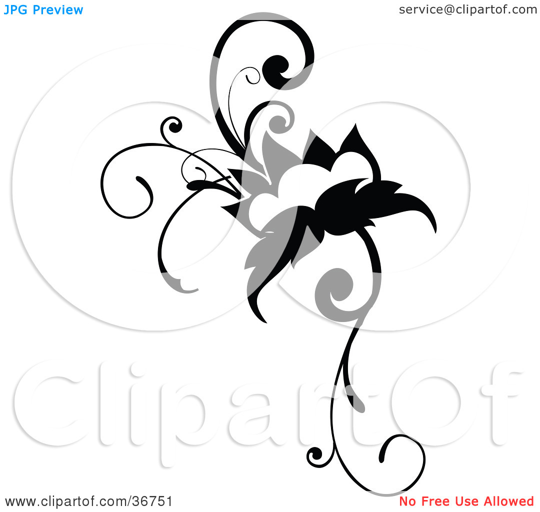 Clipart Illustration Of A Black And White Flowering Vine Design Scroll