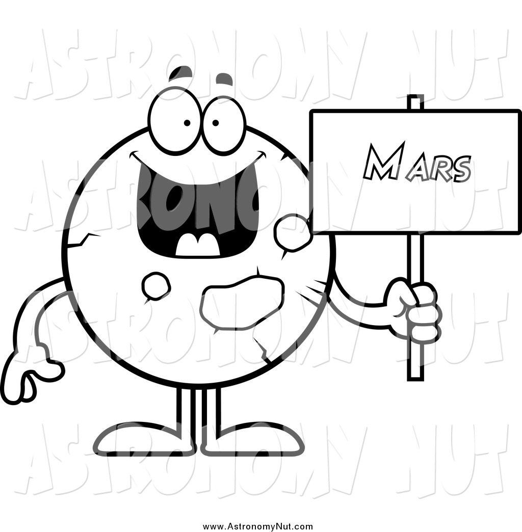Clipart Of A Black And White Happy Planet Mars Holding A ...