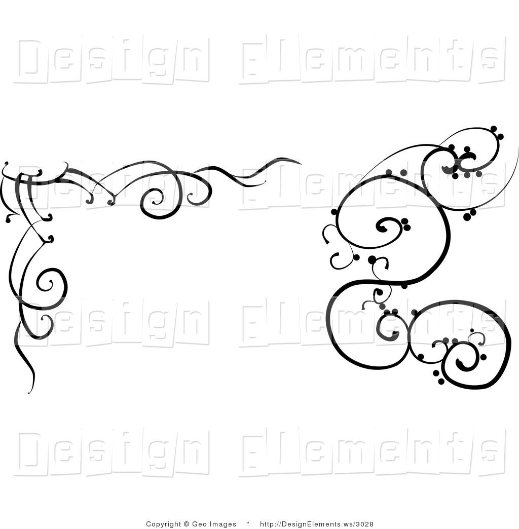 Design Element Clipart Of Black And White Vine Designs By Geo Images