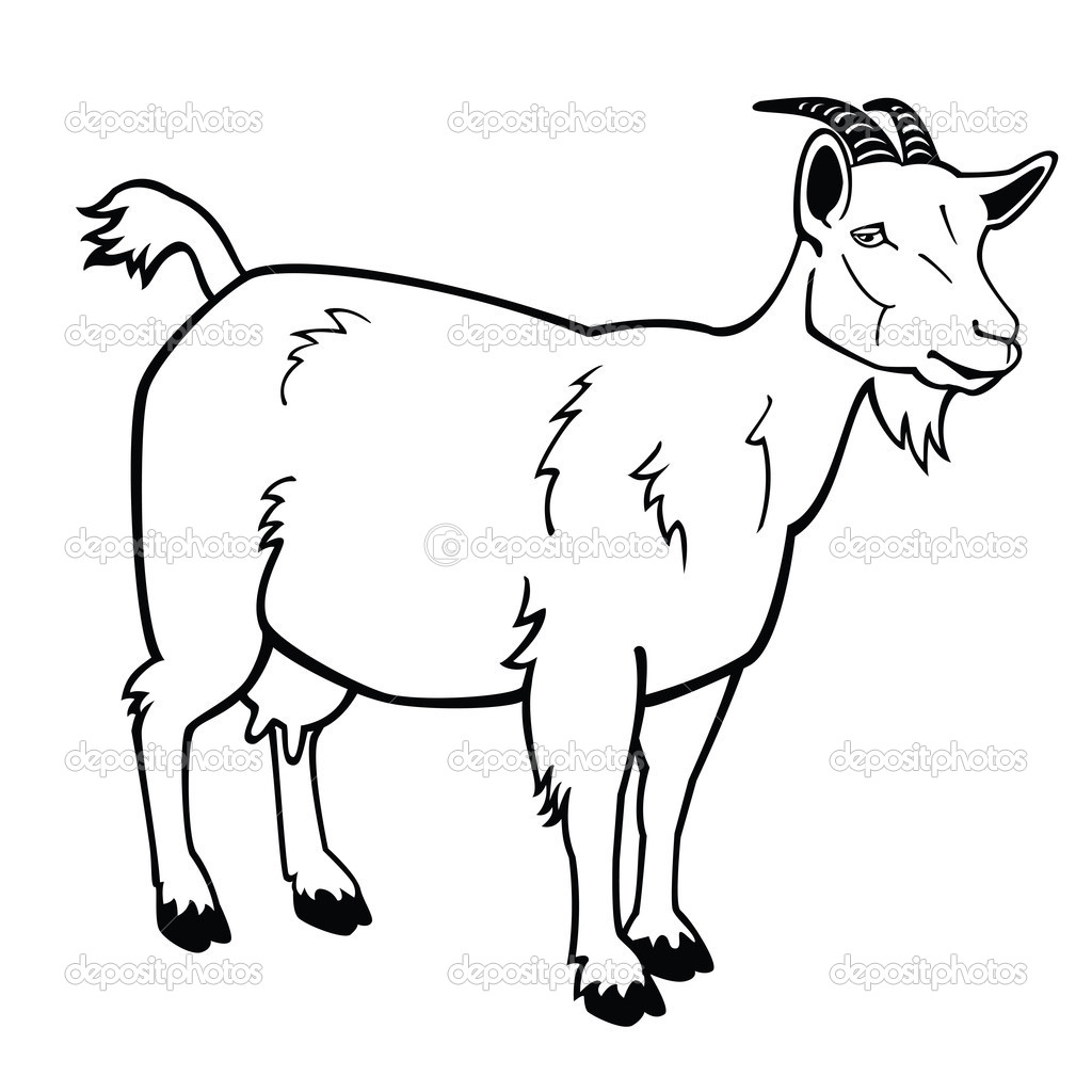 baby goat clipart black and white