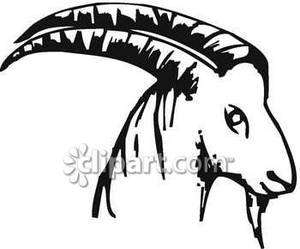 Goat Clipart Black And White Black And White Goat Head With Long Horns