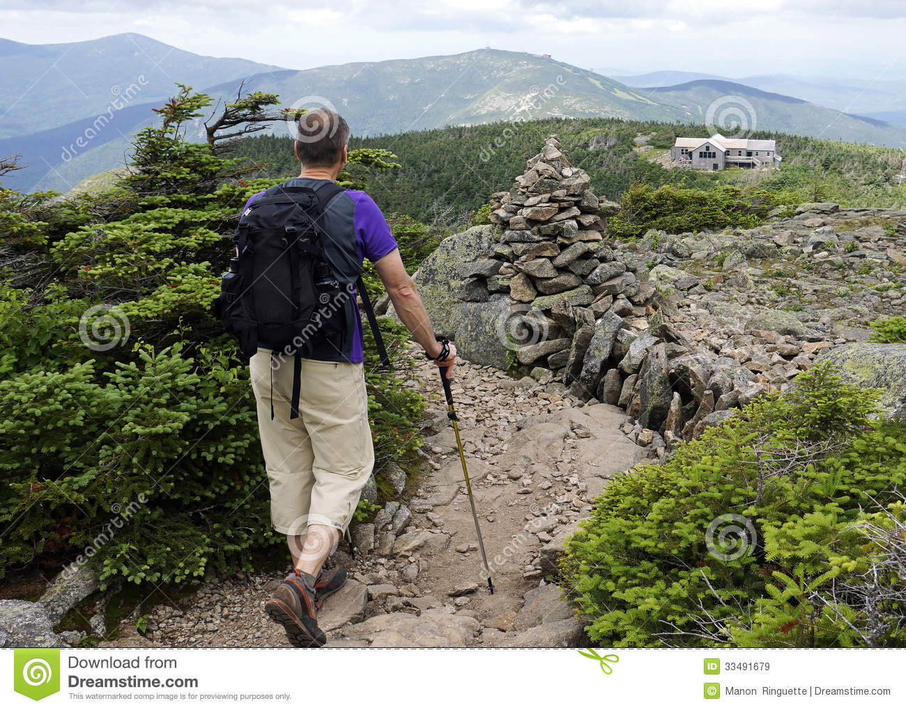 Hiking To Greenleaf Hut On Appalachian Trail Royalty Free Stock ...