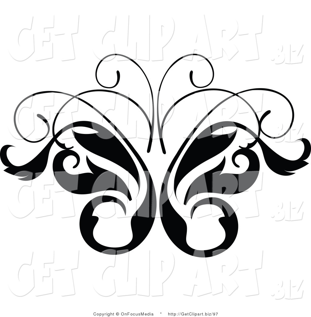 Larger Preview  Clip Art Of A Black And White Leavy Butterfly Vine