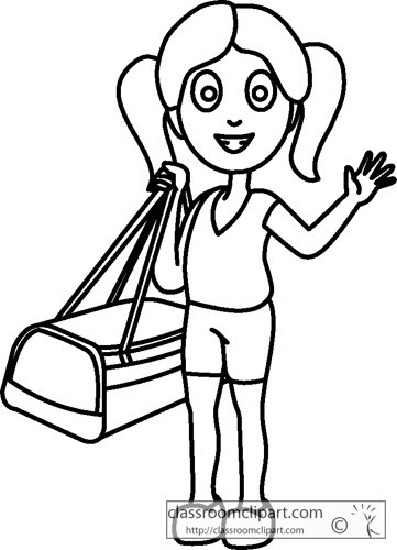 People   Girl Holding Travel Bag Outline   Classroom Clipart