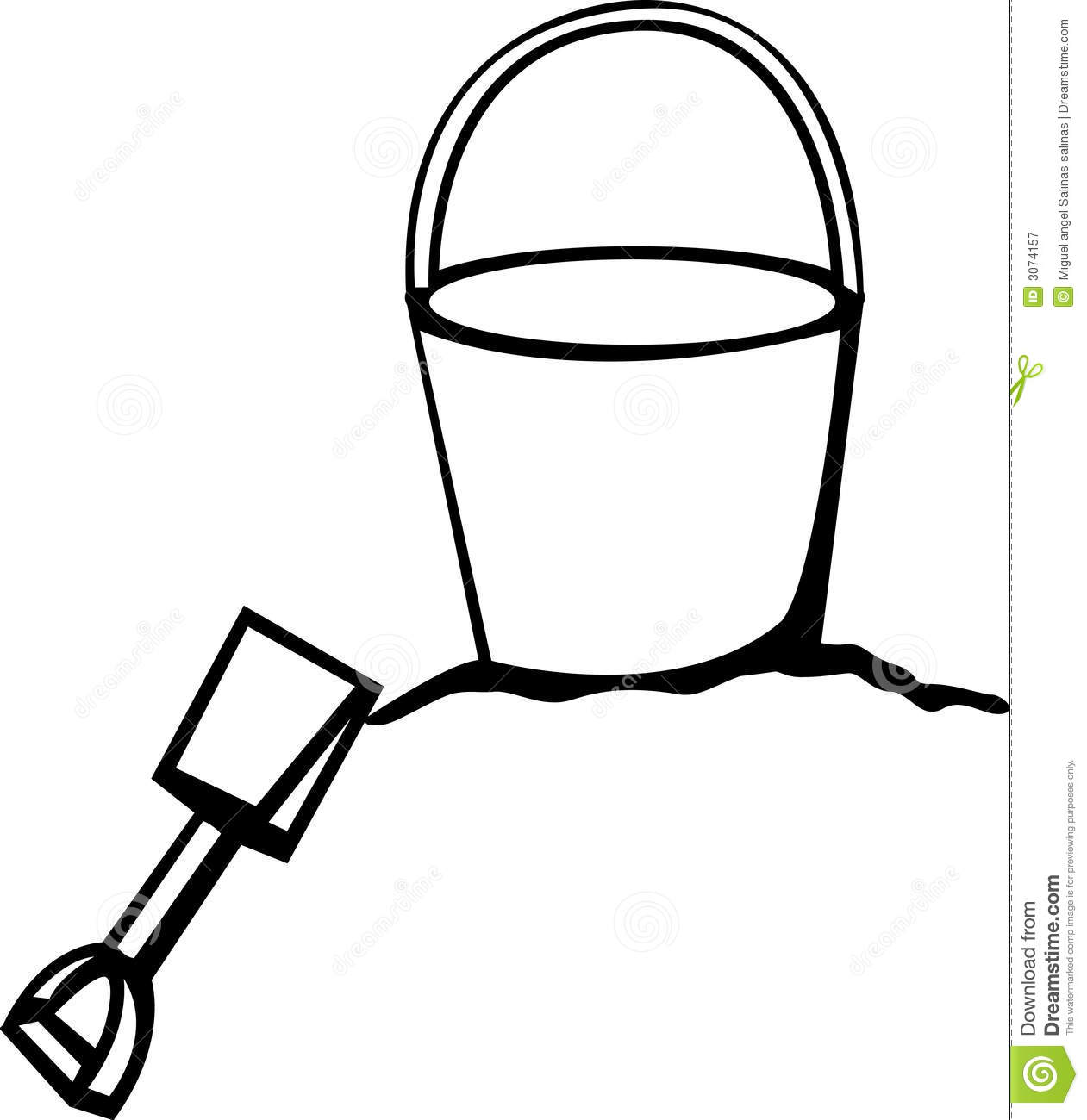 Sand bucket and shovel clip art black and white