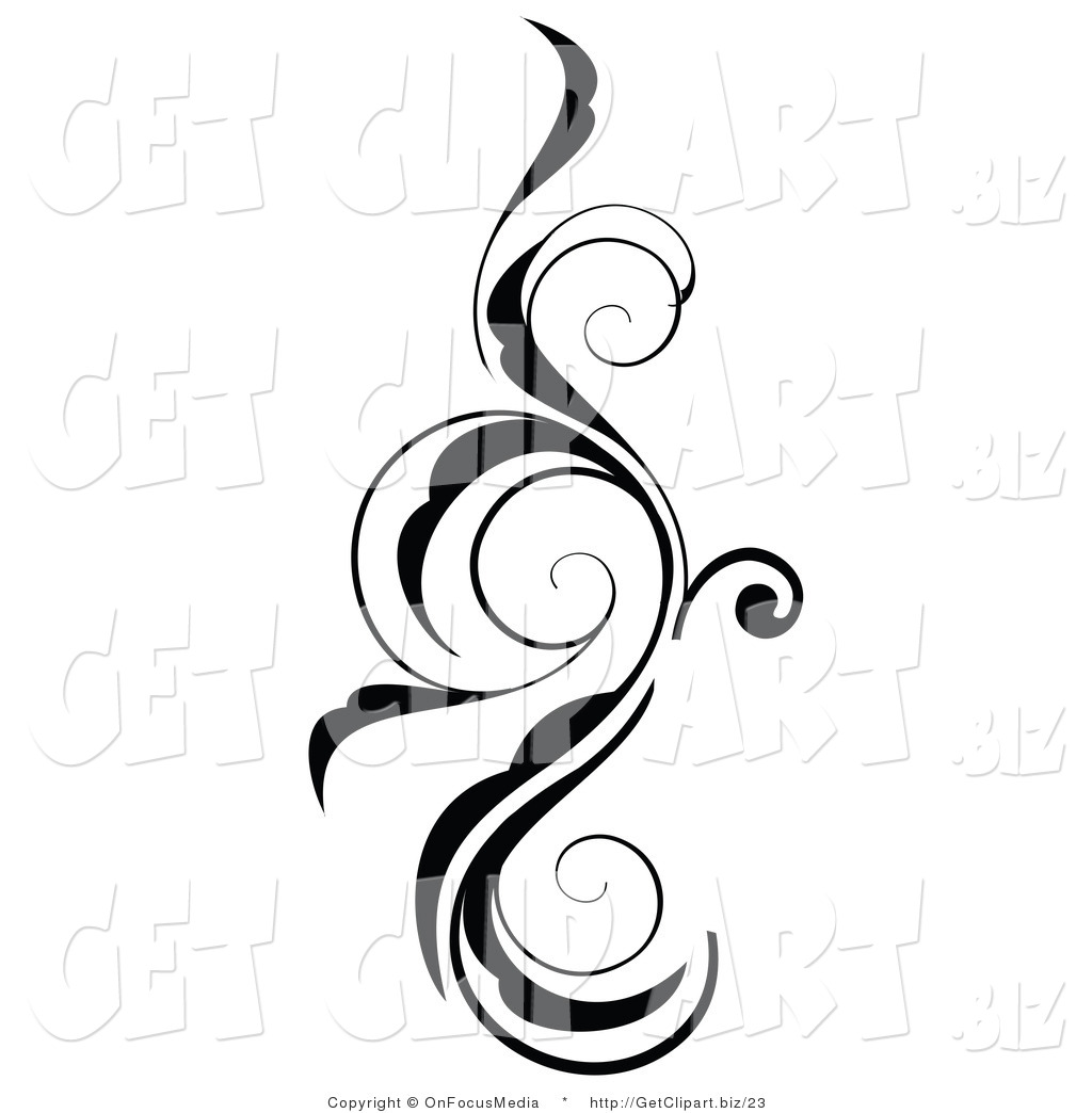 Vine Clipart Black And White Clip Art Of A Vertical Black