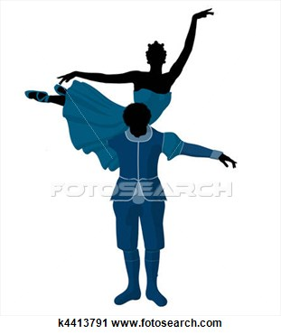 African American Ballet Couple Illustration Silhouette View Large