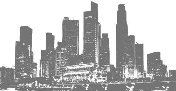 Black And White Panorama Cities   123freevectors