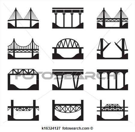 Clip Art   Various Types Of Bridges  Fotosearch   Search Clipart