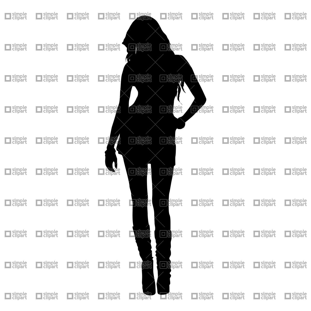 Clipart   People   Silhouette Of Beautiful Young Girl Vector Clipart