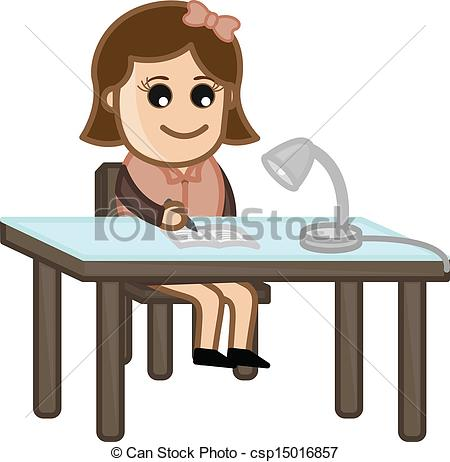 Girl Student Studying Clipart Vector   Studying Cartoon Girl