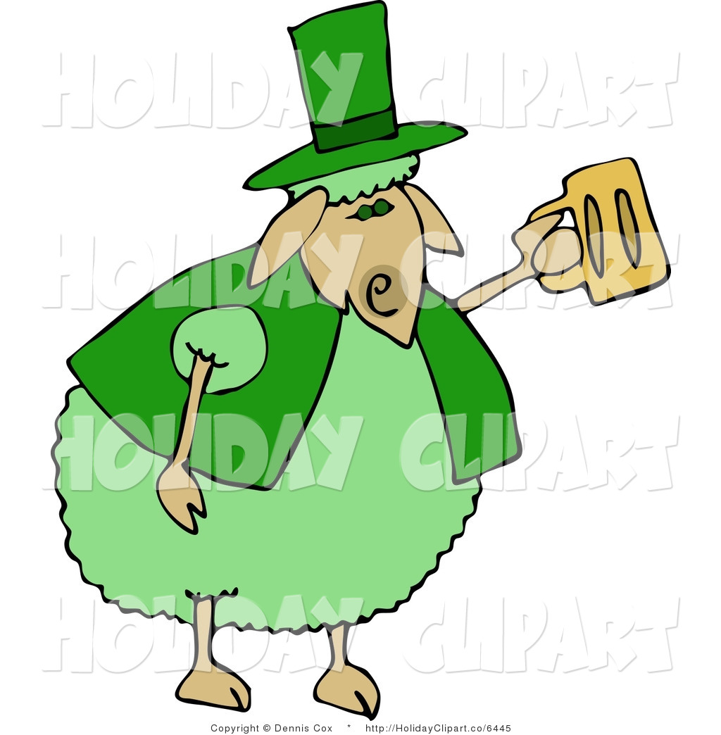 Green Anthropomorphic Sheep Drinking A Mug Of Beer On St Patrick S Day