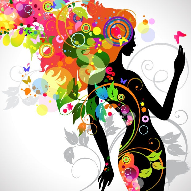 Name  Colorful Floral Girl Silhouette