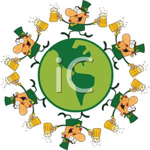 Of Leprechauns Dancing With Beer Pints   Royalty Free Clipart Picture