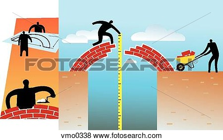Stock Illustration   People Building A Bridge  Fotosearch   Search Eps
