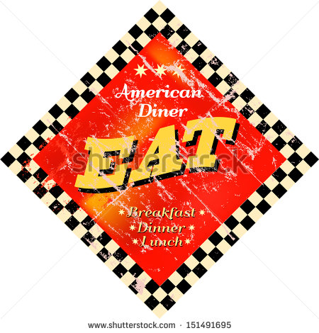 Vintage Eat Sign Diner Sign   Stock Vector