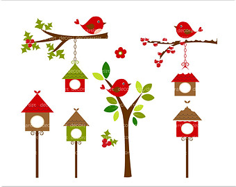 And Birdhouse Digital Clipart  Instant Download Sale Clipart On Etsy