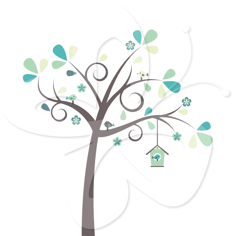 Bird Tree In Pink And Blue   5 00 Trees With Birds And Birdhouse In A