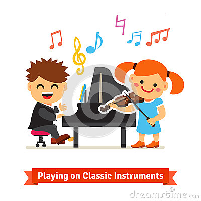 Boy And Girl Kids Playing Classical Music On Piano And Violin Together