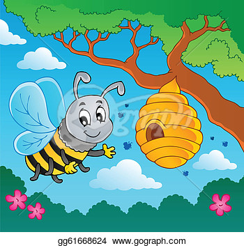 Cartoon Bee With Hive   Vector Illustration   Clipart Gg61668624