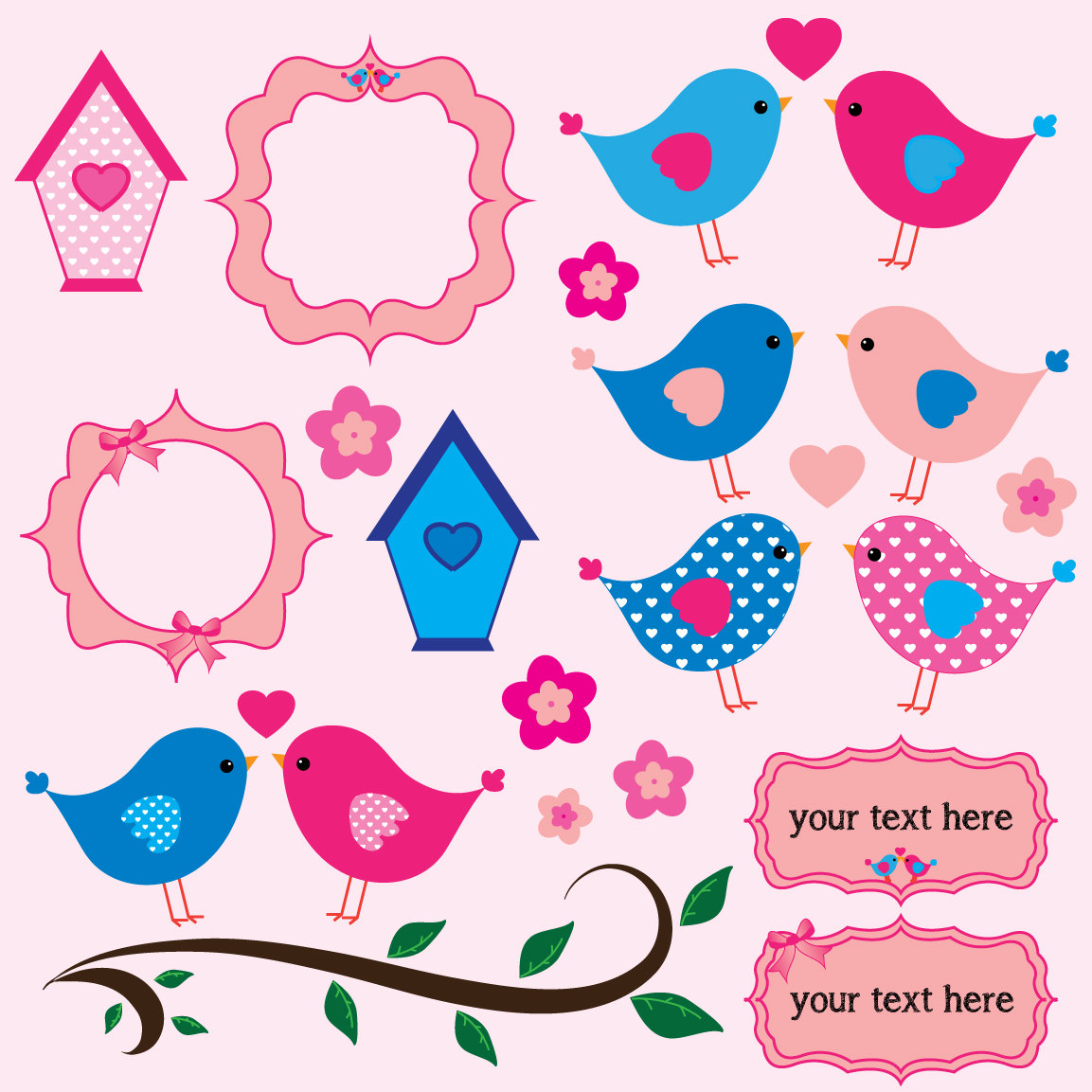 Clipart Digital Scrapbook Pink Clipart Baby Clipart Birdhouse