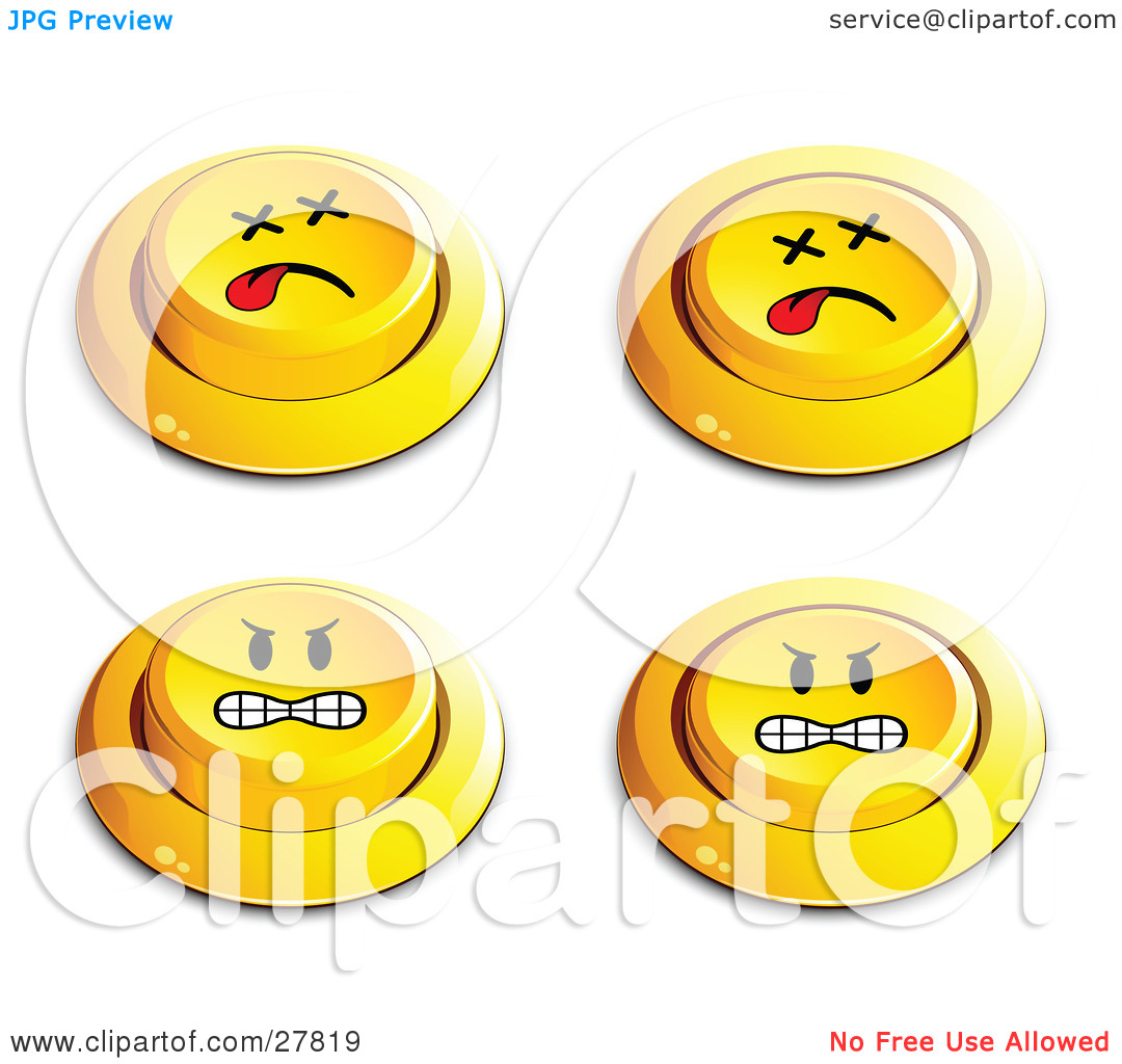Clipart Illustration Of A Set Four Yellow Push Buttons With