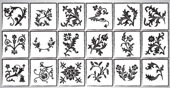 Floral Ornaments Vector Silhouettes   123freevectors