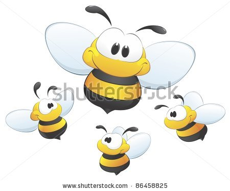 Funny Cute Cartoon Bees Flying Away From The Bee Hive On A Tree
