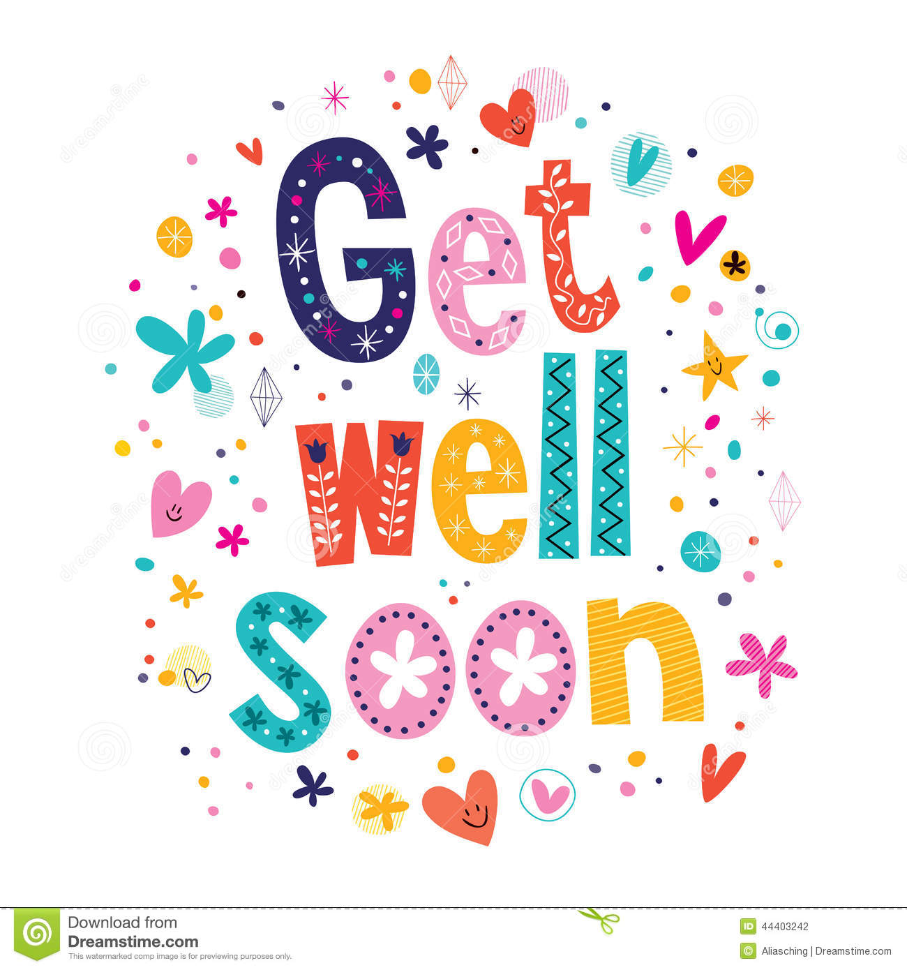 Get Well Soon Greeting Card Stock Vector   Image  44403242