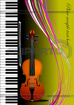 Piano With Violin  Vector Colored Illustration  Cover For Book