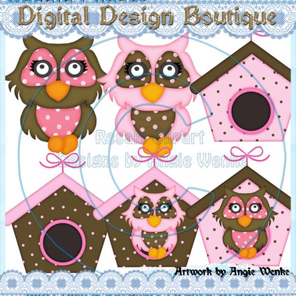 Resale Or Commercial Use Clipart Non Exclusive    Birdhouse Owls