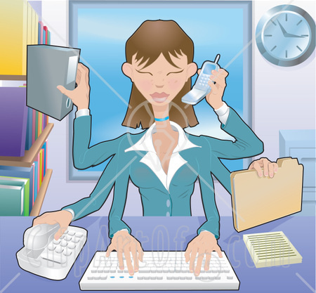 Typing Filing Organizing And Taking Phone Calls Clipart Illustration