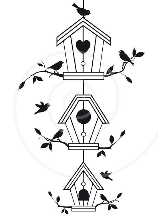 With Tree Branches Birdhouse Pet House Digital Clip Art Clipart